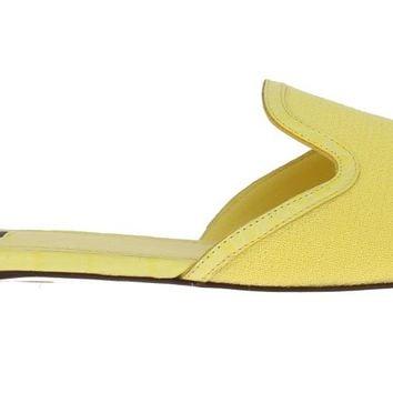 Yellow Wool Crocodile Flat Sandals