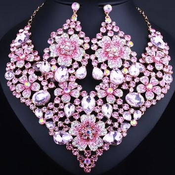 Exquisite crystal flower statement necklace and big earrings jewelry sets