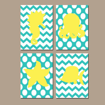 Nautical Bathroom Wall Art Yellow Turquoise Ocean Canvas Fish Seahorse Octopus Starfish Artwork Girl Boy Sea Water Set of 4 Prints Decor