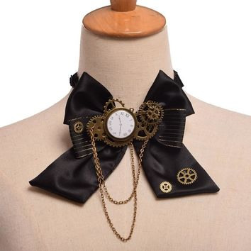 1pc Steampunk Bow Neck tie Industrial Victorian Lolita Punk Gear Bowknot for Blouse Accessory