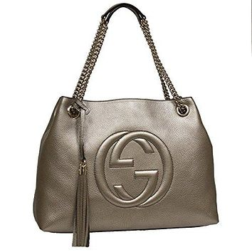 Gucci Soho Interlocking GG Golden Metallic Beige Chain Shoulder Handbag 308982 9524