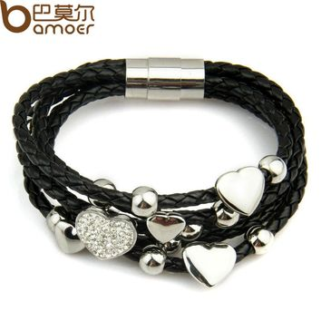 Alibaba Express Fashion Leather Wrap Woven Heart Crystal Bracelet Black for Men Handmade Stainless Steel Man Jewelry PI0694