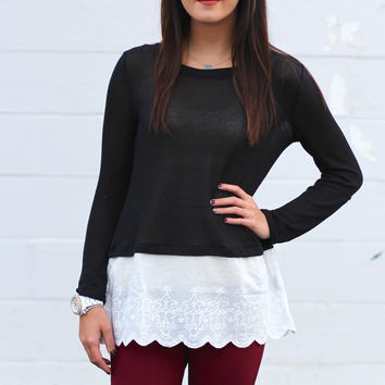 Lovely Lace Knit Top {Black}