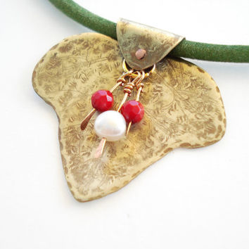 Contemporary Necklace-Unique Handmade Pendant-Hammered Gold Bronze Leaf-Real Pearl-Velvet Cord-Cold Connection-Modern Necklace-Antique Faced