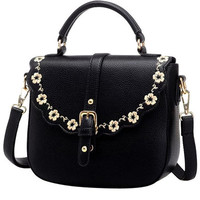 Black Floral Trim PU Leather Shoulder Bag
