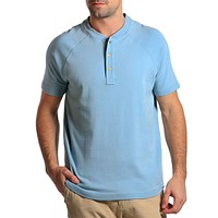 Puremeso Heathered Short Sleeve Henley in Faded Denim by The Normal Brand - FINAL SALE