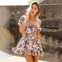 Fashion Floral Print Halter Straps  Off Shoulder Hollow Mini Dress