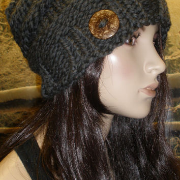 Slouchy Beanie Hat Winter Beehive Hand Knit Dark Gray Charcoal Woodsy With A Wood Button