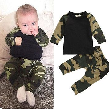 Cute Camouflage Newborn Baby Boys Kids T-shirt Top Long Pants Army Green Baby Boys Clothing Outfit Clothes Set