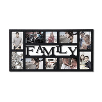 """Decorative Black Wood """"Family"""" Wall Hanging Collage Picture Photo Frame"""