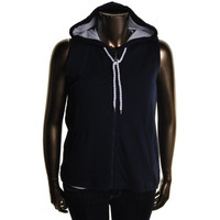 Lauren Active Womens Terry Cloth Mesh Trim Hoodie