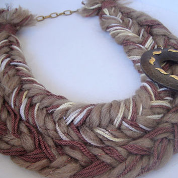 Brown Braid Necklace, African Jewelry, Knotted Necklaces, Braid Collar, Unique Necklaces for Women, Funky Jewelry, Jewelry Brown Neckpiece