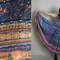 Vintage INDIAN COTTON Dress - 80s Beautiful Boho Maxi Dress with PEACOCKS & People Print - s / m