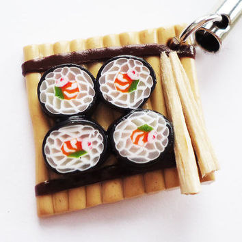 PHONE CHARM  Sushi on Bamboo by FrozenNote on Etsy
