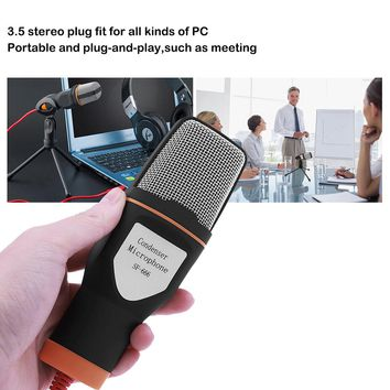 TechKara Portable Wired Microphone with Mic Stand  Plug and play
