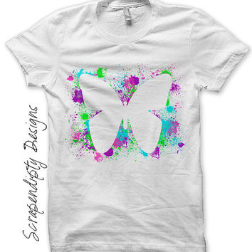 Paint Splatter Iron on Transfer - Iron on Girls Butterfly Shirt / Baby Girl Summer Clothes / Butterfly Baby Romper / Pink Tshirt IT445-C