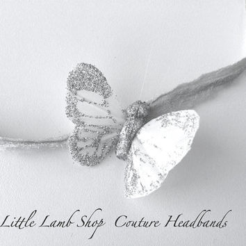 Mini Sale Fancy Silver Butterfly Newborn Tieback by littlelambshop