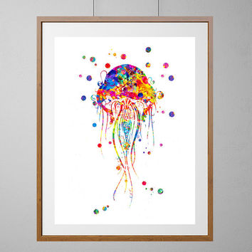 Jellyfish watercolor Print, sealife art, ocean life giclee print, wall art, nursery art, home decor, vertical poster, jellyfish art [NO 144]
