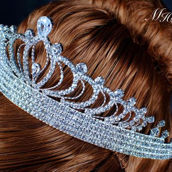 Goddess Tiaras Hair Princess Crowns Clear Crystal Austrian Rhinestones Brides Wedding Bridal Prom Pageant Party Headband