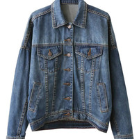 Blue Lightwash Embroidery Back Denim Jacket