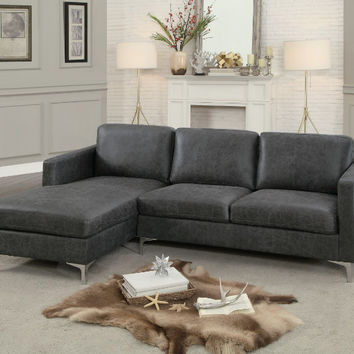 Home Elegance HE-8235GY 2 pc Breaux gray faux leather sectional sofa set chrome modern legs