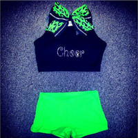 Rhinestone & Lime Green Cheer Outfit by ThingsToCheerAbout on Etsy