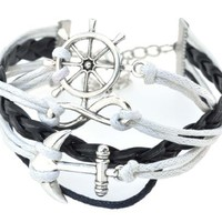Ship Wheel Infinity Fashion Braided Leather Rope Nautical Navy Boat Surf Anchor Charm Bracelet