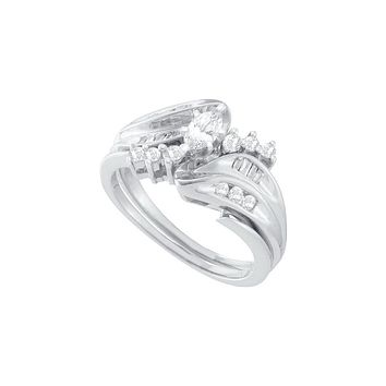 14kt White Gold Womens Marquise Diamond Solitaire Bridal Wedding Engagement Ring Band Set 1/2 Cttw