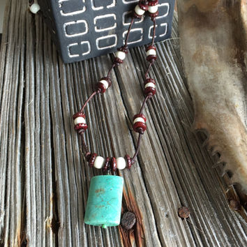 Leather Necklace, Bohemian Necklace, Turquoise Jewelry, Native American, Hippie Necklace, Yoga Inspired, Boho Necklace, Gypsy Jewelry