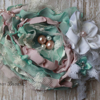 PASTEL HEADBAND, mint green, pink, ivory pearl, Easter, girls, teen, baby, well dressed wolf, magnolia, ooak, ott, scb , spring, pearls