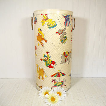 Retro Circus Vinyl Tall Storage Bin by Pearl Wick -  Vintage Colorful Nursery Chest / Hamper / Toy Box - Mid Century Heavy Large Toy Storage