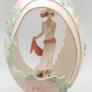 Swinging 1920's Flapper Girl, Art Deco Egg Art, Egg Ornament, Faberge Style Decorated Egg