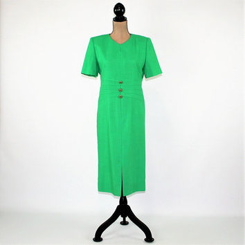 Short Sleeve Green Dress 80s Vintage Clothing Women Dress Medium Day Dress Size 8 Dress Henry Lee Womens Clothing
