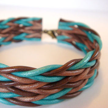 Turquoise and Brown Cuff Bracelet  Polymer Clay by JustClayin