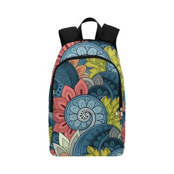 Floral Pattern Paisley Fabric Backpack