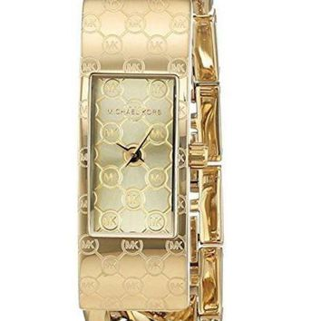 DCCKU7Q Michael Kors MK3306 Hayden Champagne Dial Gold-tone Twist Ladies Watch
