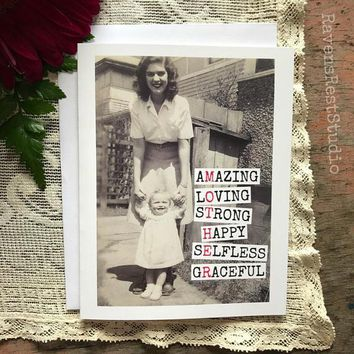 MOTHER - Amazing Loving Strong Happy Selfless Graceful Funny Vintage Style Mothers Day Card FREE SHIPPING