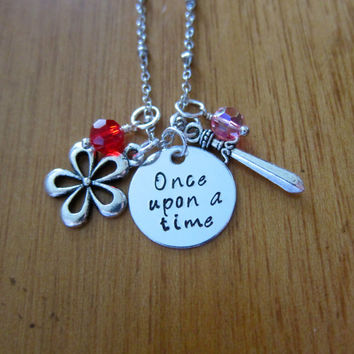 "Disney Inspired Princess Mulan Necklace. ""Once Upon A Time"". Silver colored, Hand Stamped, Swarovski crystals. FREE shipping."