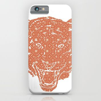 TIGER SILHOUETTE HEAD WITH PATTERN iPhone & iPod Case by deificus Art