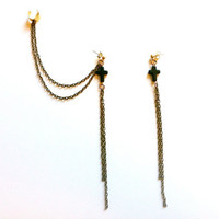 Pair of Rustic Chain Black Cross Ear Cuff