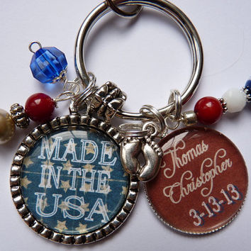 MADE in the USA keychain new baby patriotic red white blue childs name birth date new mom dad united states necklace jewelry beautiful quote