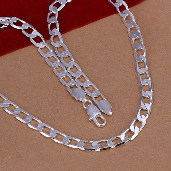 silver plated Chain 8M/2 inch Flat Sideways Necklaces Pendants Men jewelry 34 MP