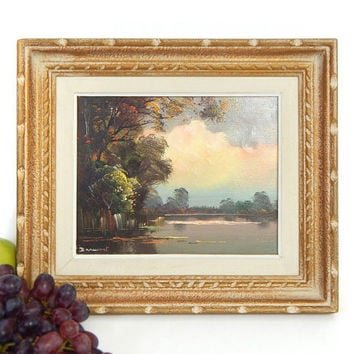 Vintage French Landscape Oil Painting - Subdued French Country Cottage Chic Fine Art Lake Scene - Darmont Framed Oil on Canvas