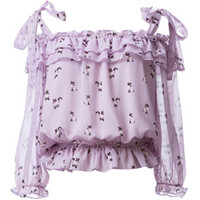 Lavender Cat Print Off-the-shoulder Blouse With Ruffled Detail - Choies.com