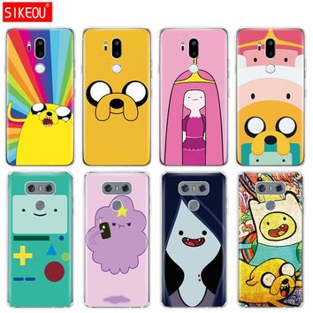 silicone case phone cover for LG G7 Q8 Q6 G6 MINI G5 V30 V7 V9 k10 k8 X POWER 2 Adventure Time finn fade with jack