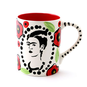 Frida Kahlo mug with poppy design