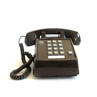 Retro Push Button Desk Telephone in dark brown