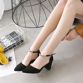 Women All-match Fashion Rhinestone Ankle Strap Shallow Mouth Suede Pointed Toe Sandals Block Heels Shoes