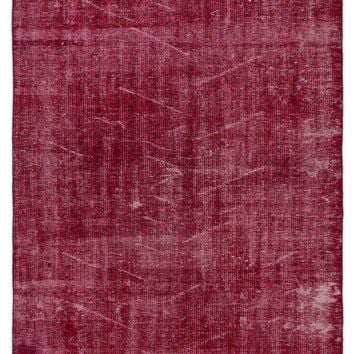 RED OVERDYED VINTAGE RUG 4'6'' X 7'5'' FT 136 X 225 CM
