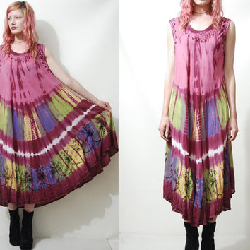 90s Vintage TIE DYE Dress TRAPEZE Slouchy smock Long Boho Bohemian Hippie Gypsy 1990s vtg Embroidered s m l xl
